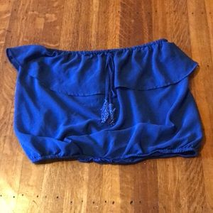 Bebe blue strapless tube top size M